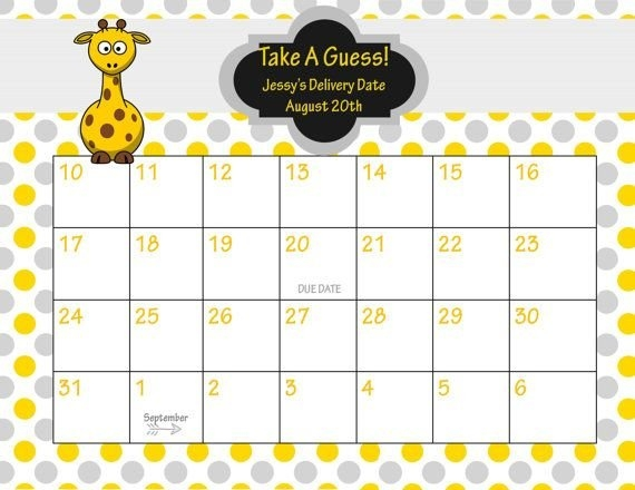 Pin On Baby Baby within Free Baby Guess Calendar Template