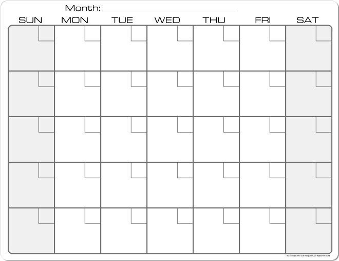 Plain+Monthly+Calendar+Printable | Calendar Printables with 8 X 11 Blank Printable Calendar Graphics