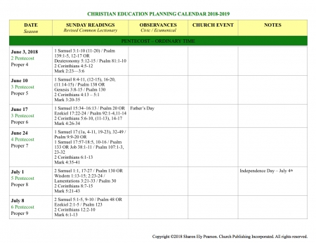 Plan Your Church Program Year With This Free Calendar 2018-2019 throughout Preaching Calendar Example Graphics