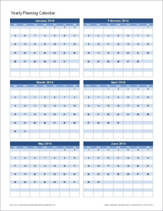Planning Calendar Template - Yearly with Monthly Calendar Schedule Maker Color Coded