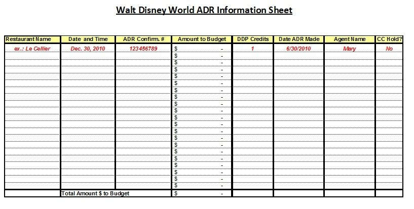Planning Worksheets – The Affordable Mouse ~ The Affordable in Disney World Planning Calandr Template