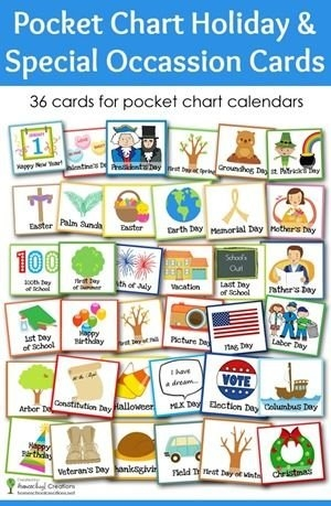 Pocket Chart Holiday And Special Occasion Calendar Cards pertaining to Printable Short Time Calendar Photo