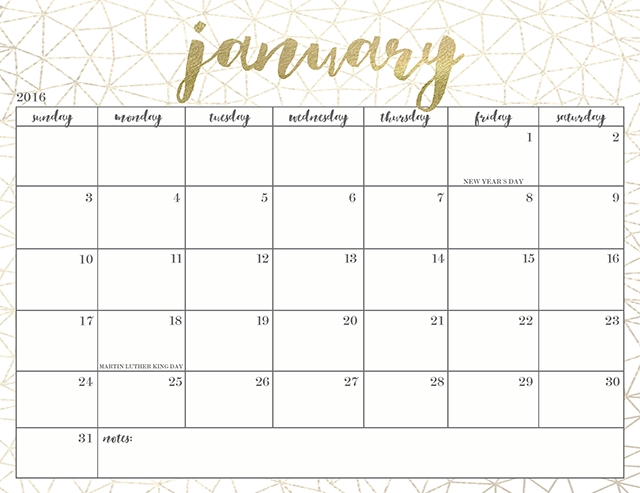 Pretty + Free Printable 2016 Calendars | A Imprimer for Short Timers Calendar Printable