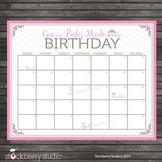 Princess Guess The Due Date Calendar Printable - Pink regarding Baby Birthday Calendar Graphics