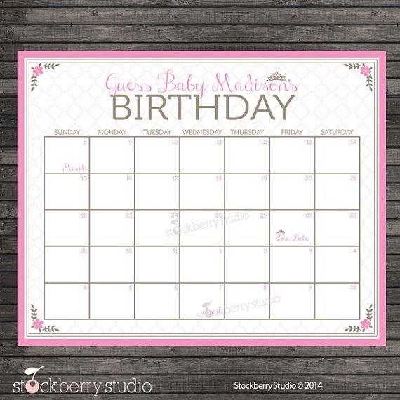 Princess Guess The Due Date Calendar Printable - Pink regarding Free Baby Guess Calendar Template
