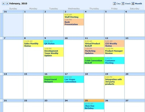 Print Multiple Sharepoint Calendars With Event Calendar Plus throughout Color Coded Calendar Months Image