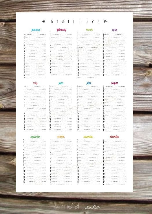 Printable 11X17 Birthday Calendar Poster /limefishshop intended for 11 X 17 Calendar Printable