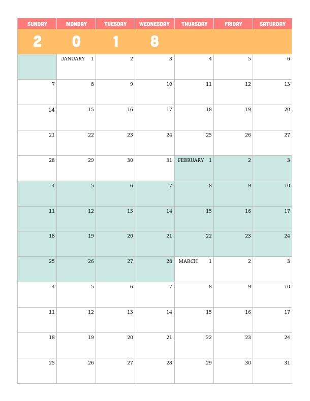 Printable 2018 Quarterly Calendar – Lara Willard pertaining to Color Coded Calendar Printable Graphics