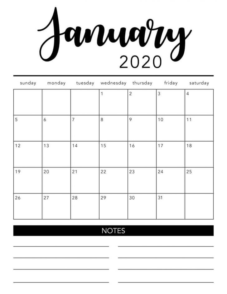 Printable 2020 Calendarmonth | Free Printable Calendar for Printable 2020 Monthly Calendar Template