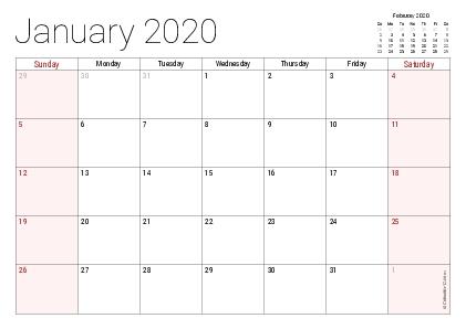 Printable 2020 Calendars (Pdf) - Calendar-12 intended for No Frills Basic Calendar 2020 Photo