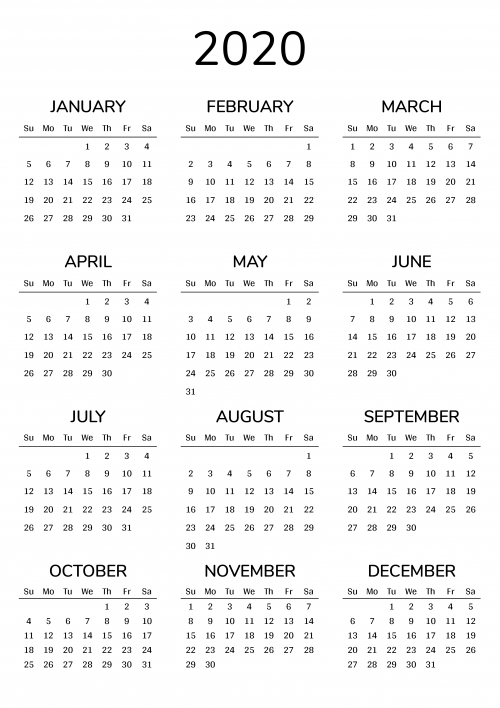 Printable 2020 Calendars Templates - Download Pdf for 2020 Calendar Pdf