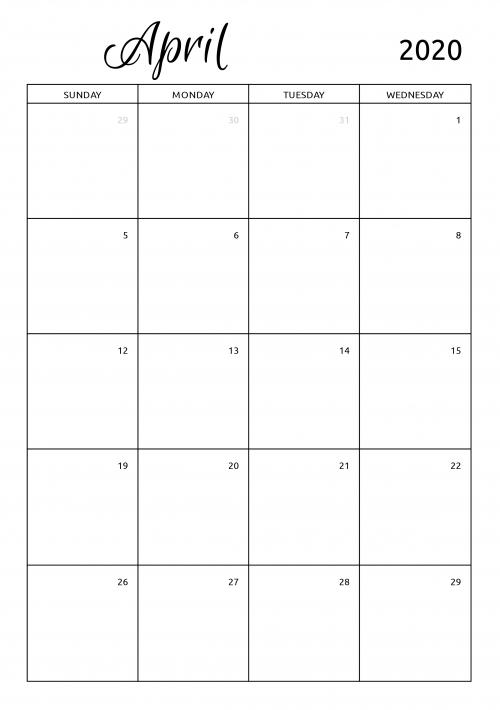 Printable 2020 Calendars Templates - Download Pdf with Printable 2020 Monthly Calendar Template Graphics