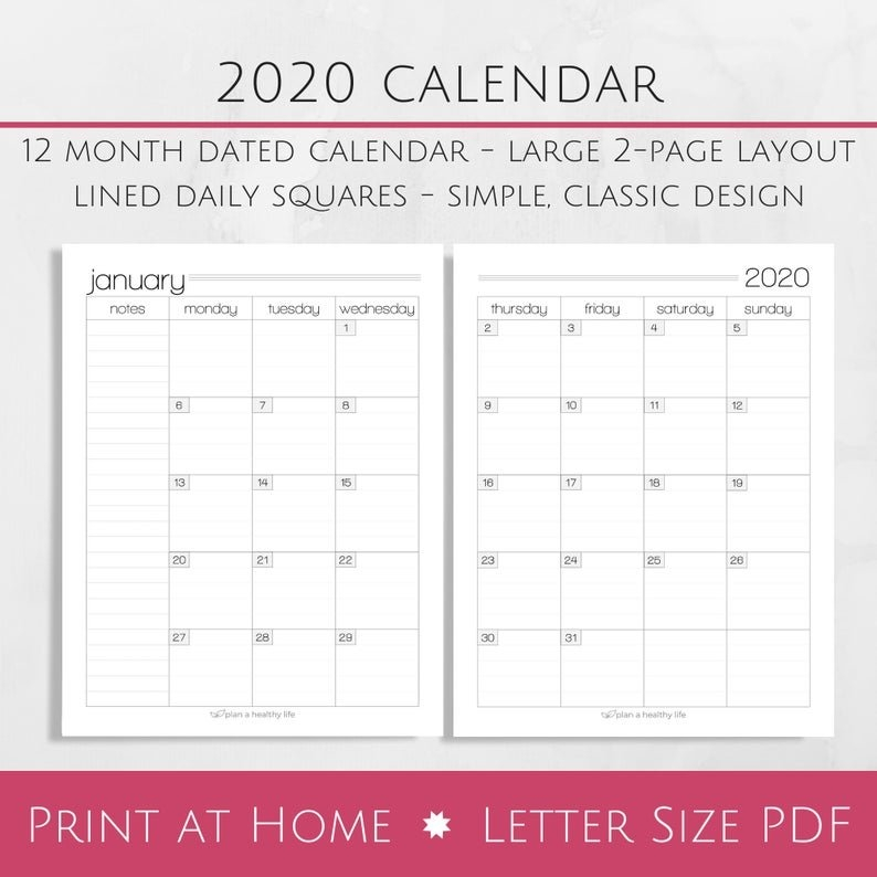 Printable 2020 Monthly Calendar - 8.5X11 Letter Size Pdf - 2020 Planner  Insert - Instant Download - Planner Calendar throughout 8.5X11 Sept Calendar Page Photo