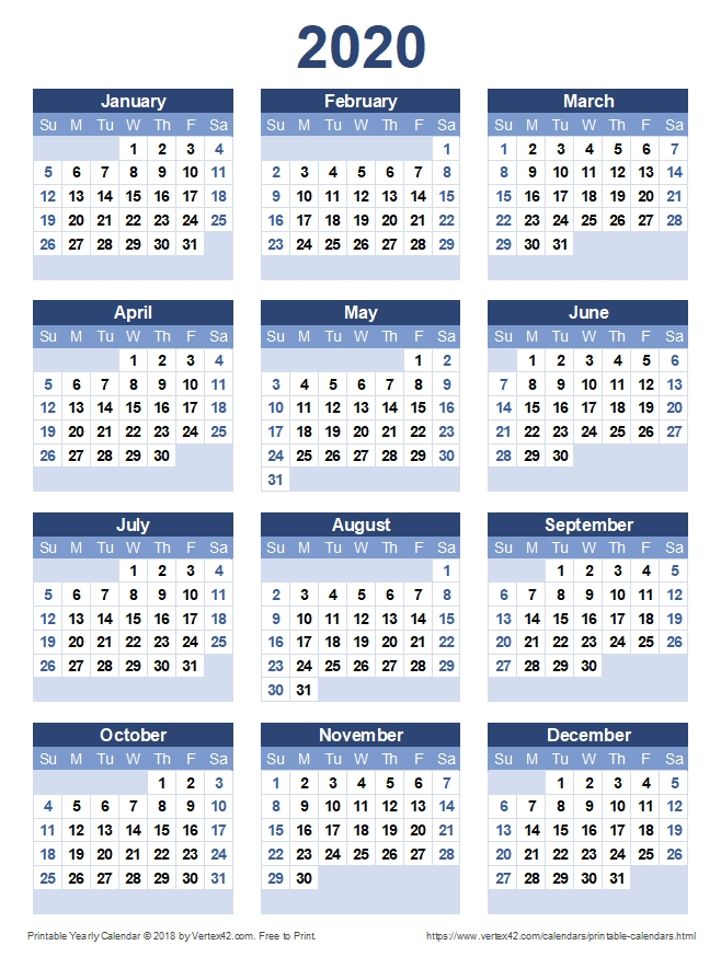 Printable 2020 Yearly Calendar | Calendar Printables, Free pertaining to Free Calendar Templates Printable 11In By 17 In Graphics