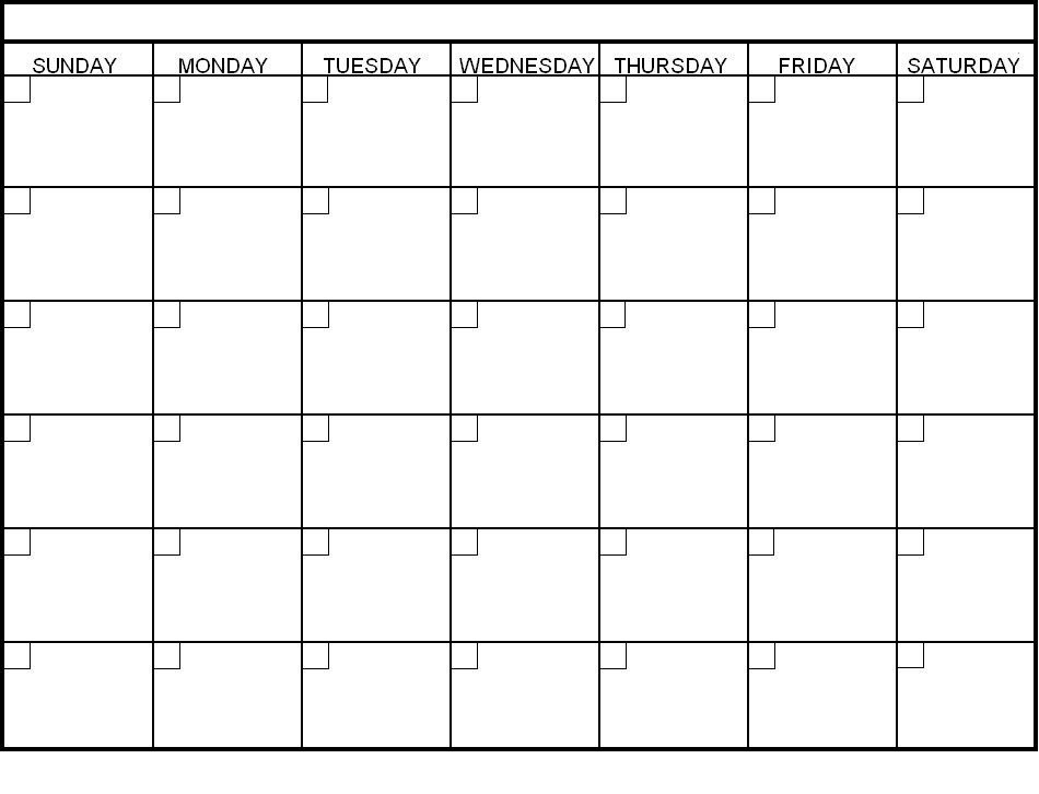 Printable 30 Day Calendar | Blank Calendar Template for Empty Calendar To Fill Out Graphics