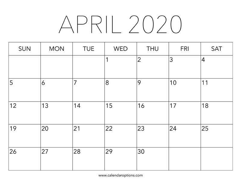 Printable April 2020 Calendar – Calendar Options pertaining to Extra Large Printable Calendar Image