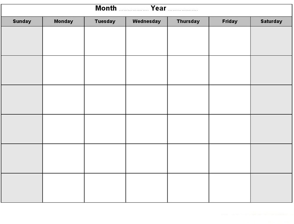 Printable Blank Monthly Calendar | Activity Shelter for 8X11 Blank Month Template Graphics