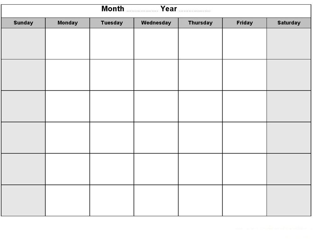 Printable Blank Monthly Calendar | Activity Shelter inside 8X11 Printable Blank Calendar Photo