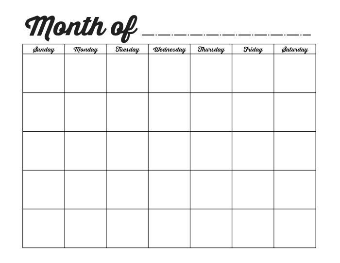 Printable Blank Monthly Calendars | Monthly Calendar with Blank Monthly Calendar Printable Image
