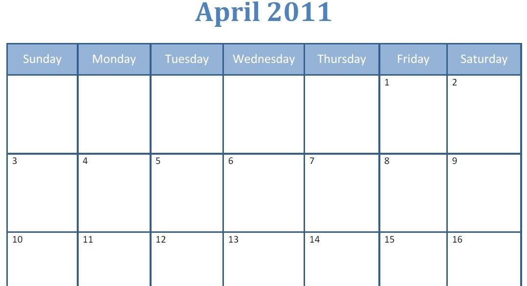 Printable Blank Pdf April 2011 Monthly Calendar   Printable in Large Block Calendar Template