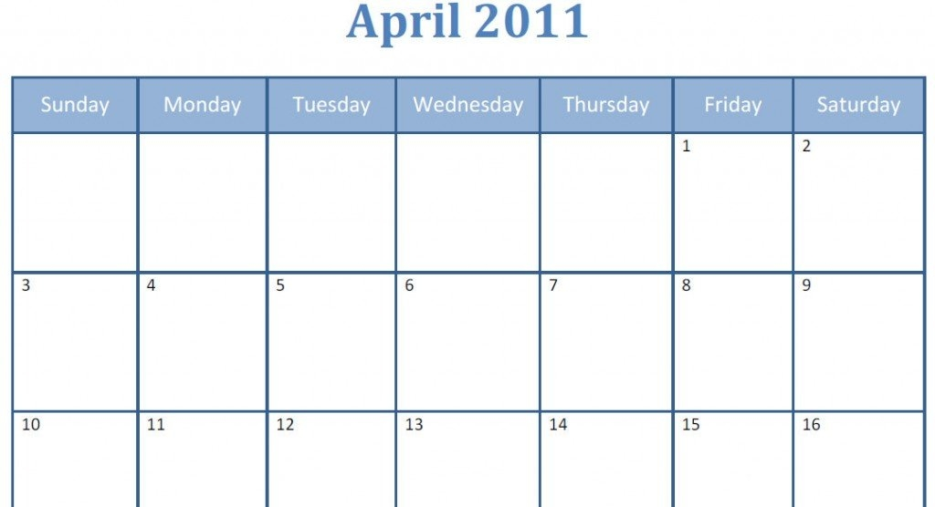 Printable Blank Pdf April 2011 Monthly Calendar | Printable regarding Large Block Monthly Calender Template Photo