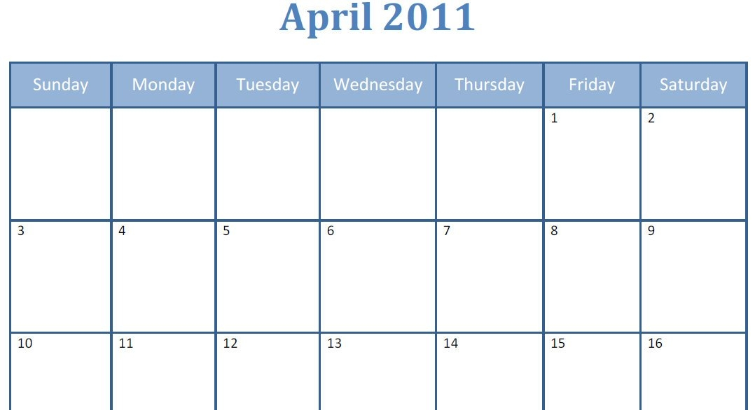 Printable Blank Pdf April 2011 Monthly Calendar | Printable within Images Of Large Block Printable Calenars Graphics