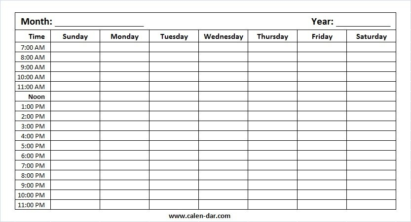 Printable Blank Weekly Calendar Monday To Sunday With Hours in Sunday Through Sunday Calendar With Hours Photo