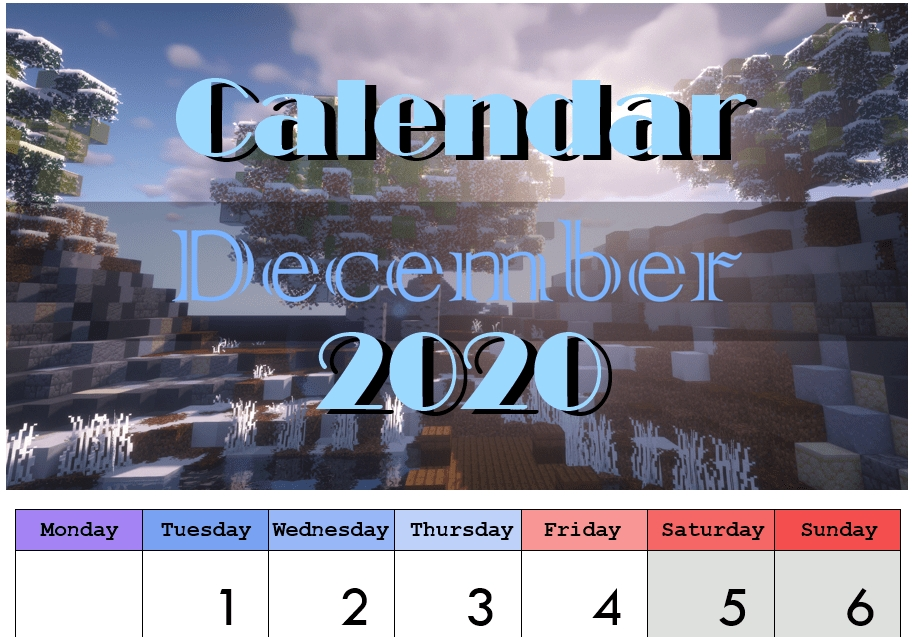 Printable Calendar 2020 Minecraft Downloadcararose with regard to Minecraft Free Calendar Image