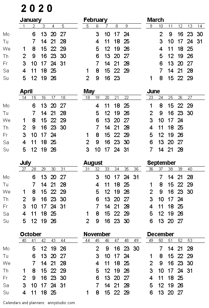 Printable Calendar 2020, Monday Week Start, Iso Week Numbers intended for Printable Calendar That Shows Each Day Numbered Out Of 365 Image