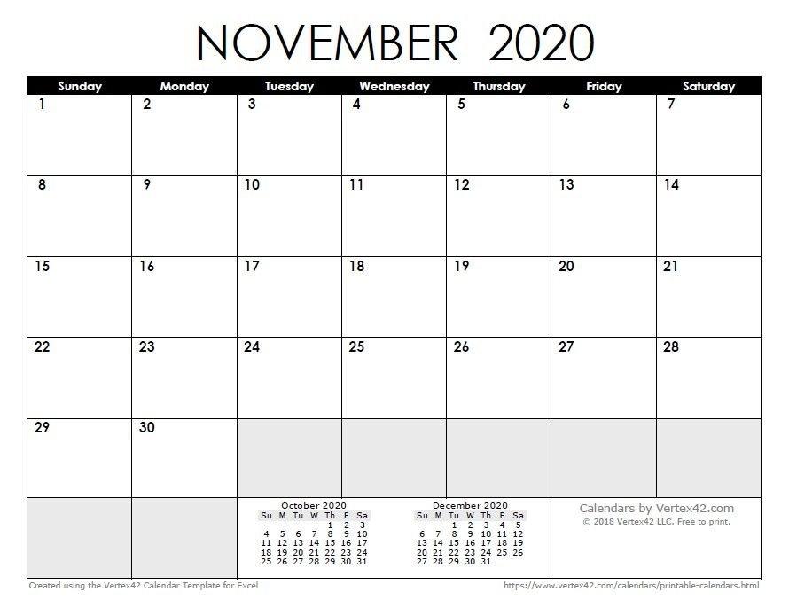 Printable Calendar November And December 2020 within Printable Calendar 2020 Monthly No Weekends