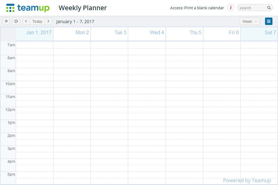 Printable Calendars - Teamup Calendar - Shared Online inside Weekly Calendar