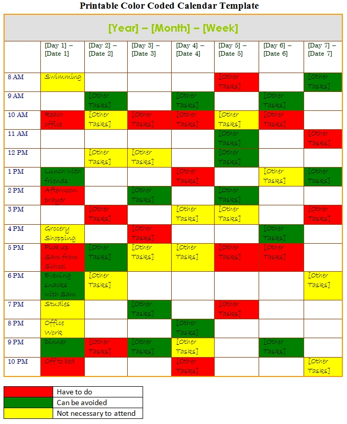 Printable Color Coded Calendar, Printable Color Coded intended for Color Coded Calendar Printable Graphics