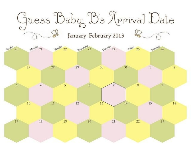 Printable - Due Date Guess Baby's Arrival -Calendar - Honey within Due Date Guess February Calendar Graphics