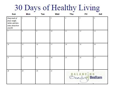 Printable Fitness Calendar (30 Days Of Healthy Living within Ab Challenge Calendar Printable