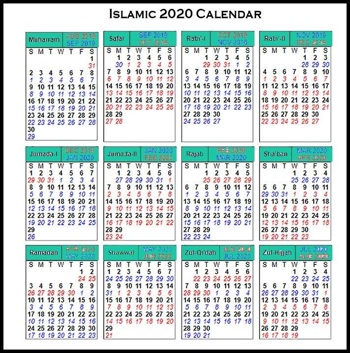 Printable Islamic 2020 Calendar | Hijri Calendar 1441 inside Islamic Calendar