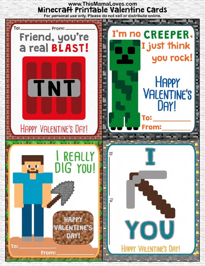 Printable Minecraft Valentines   This Mama Loves with regard to Free Minecraft Printable Schedule Image