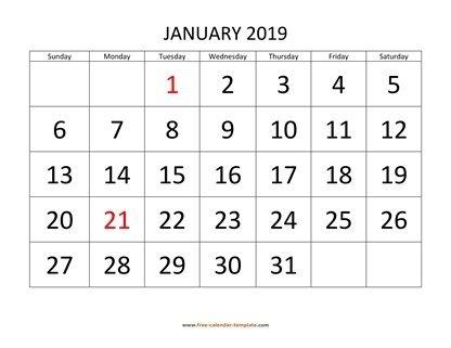 Printable Monthly Calendar 2019 | Free-Calendar-Template for Free Printable Large Square Monthly Calendar Image