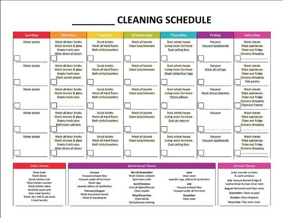 Printable Monthly Cleaning Schedule | Etsy | Cleaning with regard to Color Coded Schedule Template Photo
