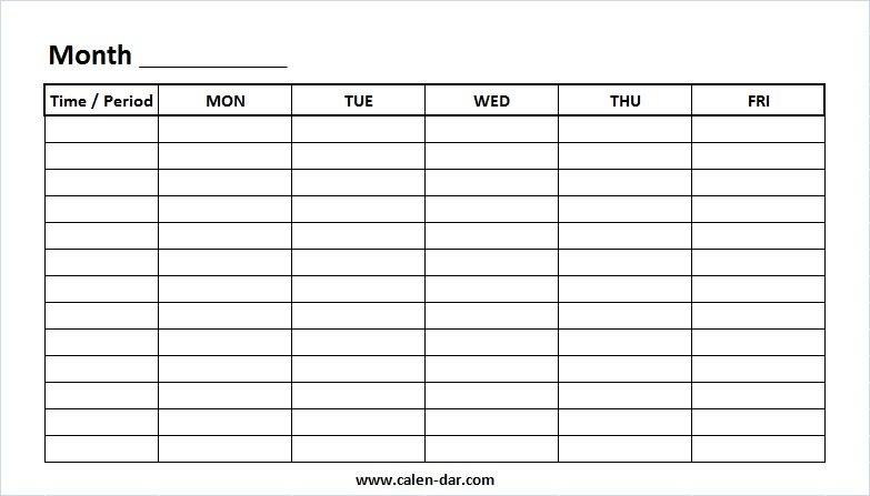 Printable Weekly Calendar Template Monday-Friday With Time Slots regarding Monday Friday Calendar Template Printable Graphics