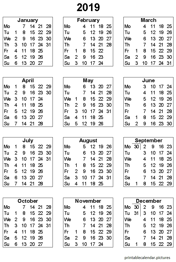 Printable Yearly Calendar 2019 | Monthly Calendar Printable pertaining to Printable Julian Calendar Color Coded