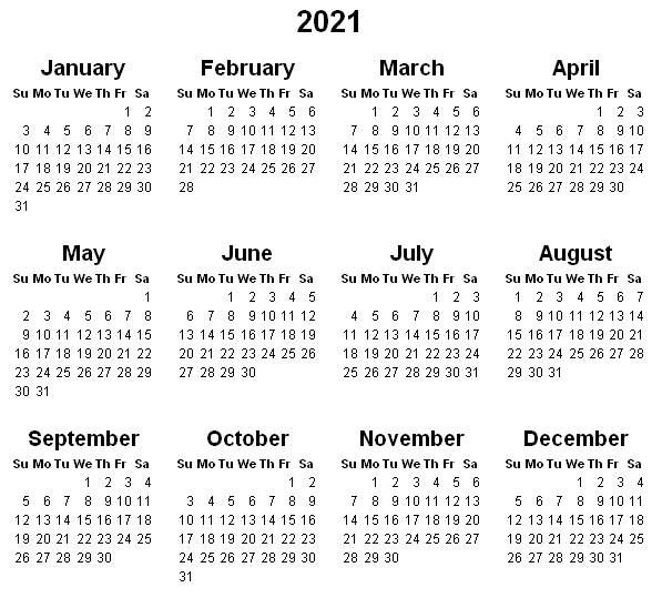 Printable Yearly Calendar 2021 In 2020 | 2021 Calendar within 2021 Calendar Printable Free Pdf