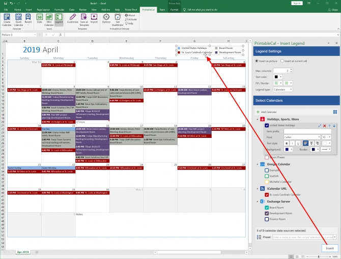 Printablecal Insert Color Coded Legend Create Calendar From in Color Coded Excel Calendar