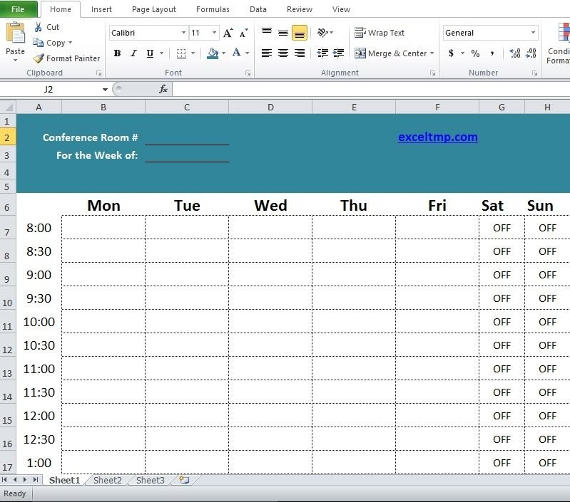 Professional Conference Room Scheduler Template | Templates for Conference Room Scheduling Caldendar Printable Pdf Image