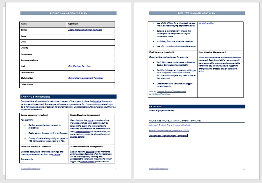 Project Management Plan Template | Free Download in Project Management Plan Sample Document Image