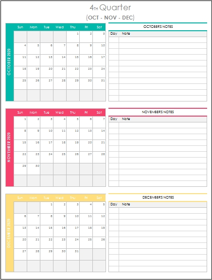 Quarterly Calendar 2020 Excel Template In 2020 | Quarterly pertaining to Easy Fill In Calendar