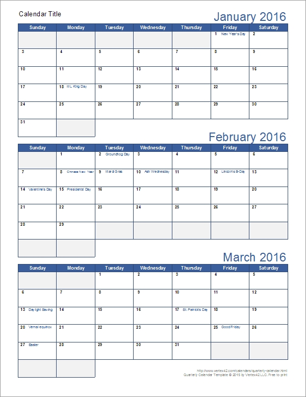 Quarterly Calendar Template for 3 Month  Word Calendar