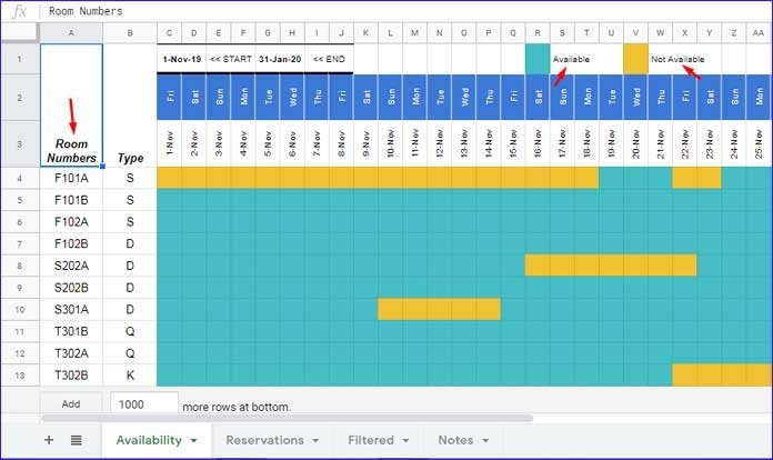 Reservation And Booking Status Calendar Template In Google with regard to Free Reservation Calendar Template