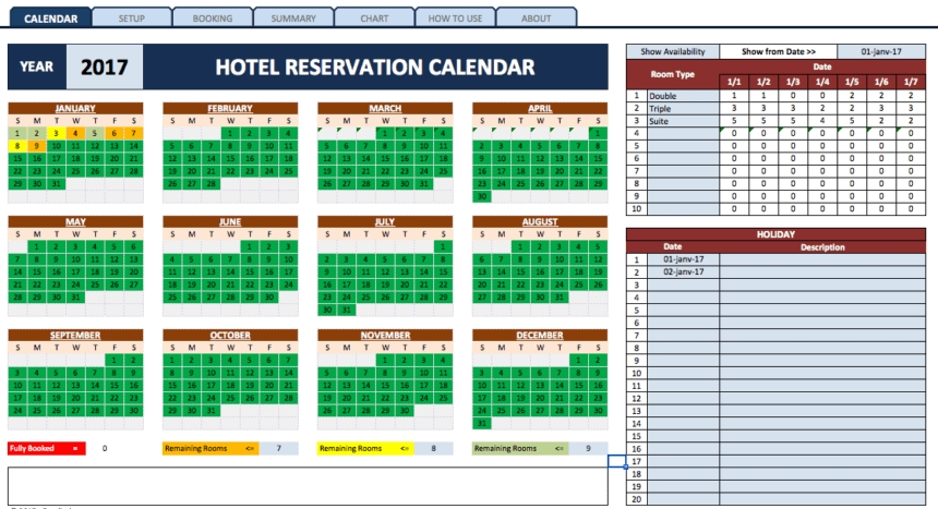 Reservation Templates » The Spreadsheet Page in Free Reservation Calendar Template