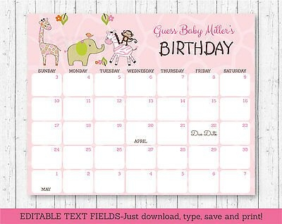 Safari Girl Jungle Animals Baby Due Date Calendar Editable Pdf | Ebay pertaining to Guess Baby Due Date Calendar Printable Photo