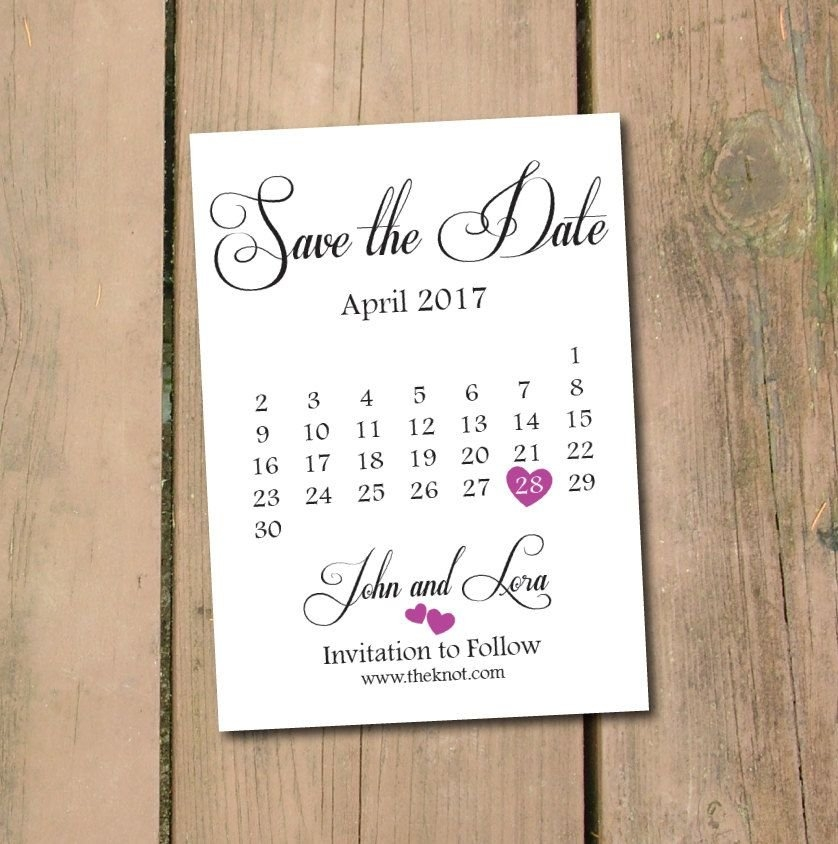 Save The Date Calendar Template/save The Date Postcard with regard to Save The Date Printable Calendar Templates